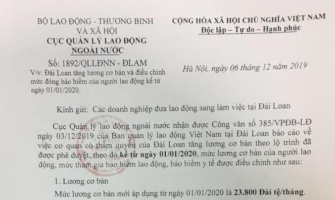thong bao ve viec tang luong co ban cho lao dong tai dai loan 2020